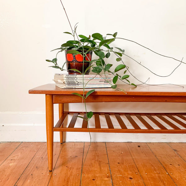 TEAK COFFEE TABLE WITH MAGAZINE RACK - HEY JUDE WORKSHOP • Vintage furniture & wares.