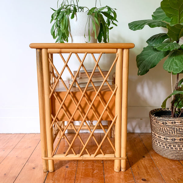 RATTAN BEDSIDE TABLE - HEY JUDE WORKSHOP • Vintage furniture & wares.