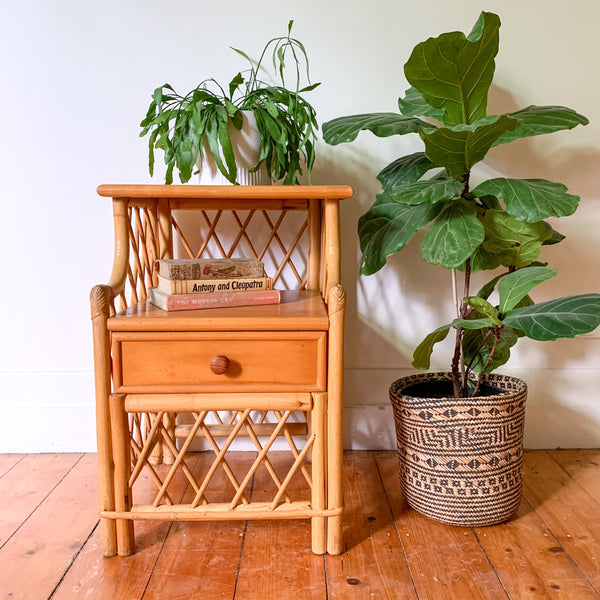 RATTAN BEDSIDE TABLE - HEY JUDE WORKSHOP