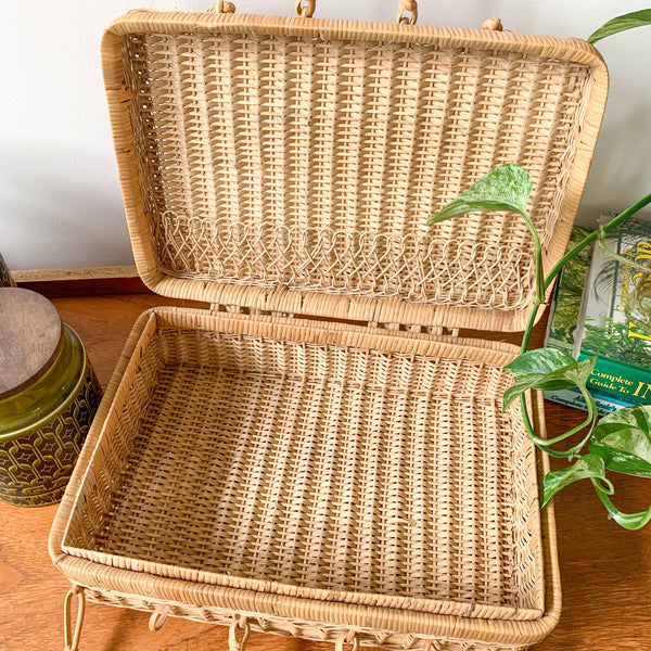 RATTAN BASKET BOX - HEY JUDE WORKSHOP • Vintage furniture & wares.