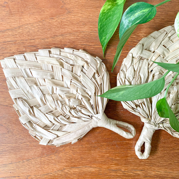PALM LEAF WOVEN FANS - HEY JUDE WORKSHOP • Vintage furniture & wares.