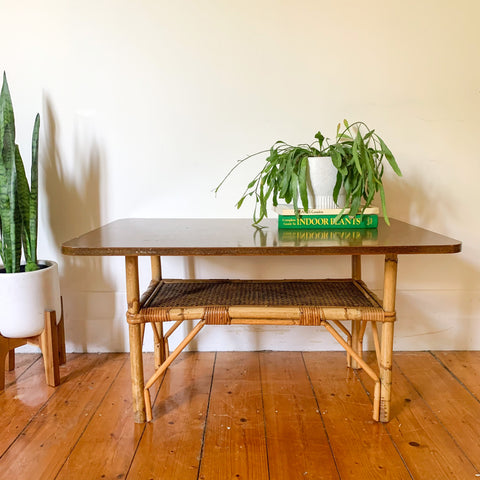 RATTAN BASE COFFEE TABLE - HEY JUDE WORKSHOP • Vintage furniture & wares.