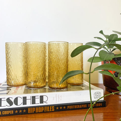 TEXTURED AMBER GLASSES - HEY JUDE WORKSHOP • Vintage furniture & wares.
