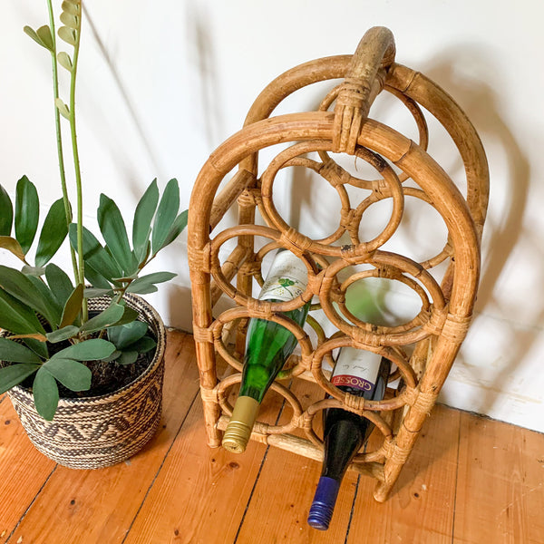 RATTAN WINE RACK - HEY JUDE WORKSHOP • Vintage furniture & wares.