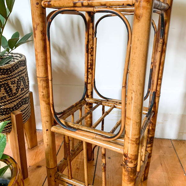 RATTAN VINYL/MAGAZINE RACK - HEY JUDE WORKSHOP • Vintage furniture & wares.
