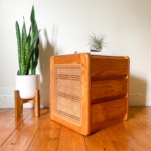 PINE & RATTAN BEDSIDE DRAWERS - HEY JUDE WORKSHOP • Vintage furniture & wares.