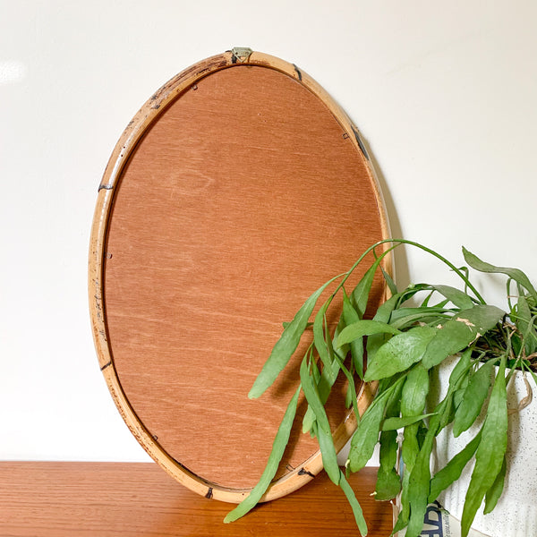 OVAL RATTAN WALL MIRROR - HEY JUDE WORKSHOP • Vintage furniture & wares.