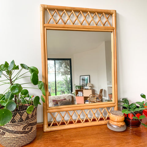 GARRY MASTERS RATTAN MIRROR - HEY JUDE WORKSHOP • Vintage furniture & wares.