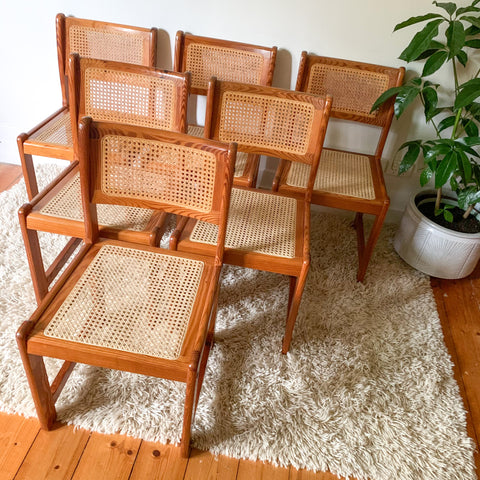 PINE RATTAN DINING CHAIRS - HEY JUDE WORKSHOP • Vintage furniture & wares.