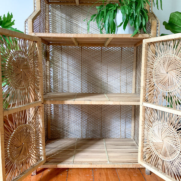 CANE STARBURST HUTCH SHELVES - HEY JUDE WORKSHOP • Vintage furniture & wares.
