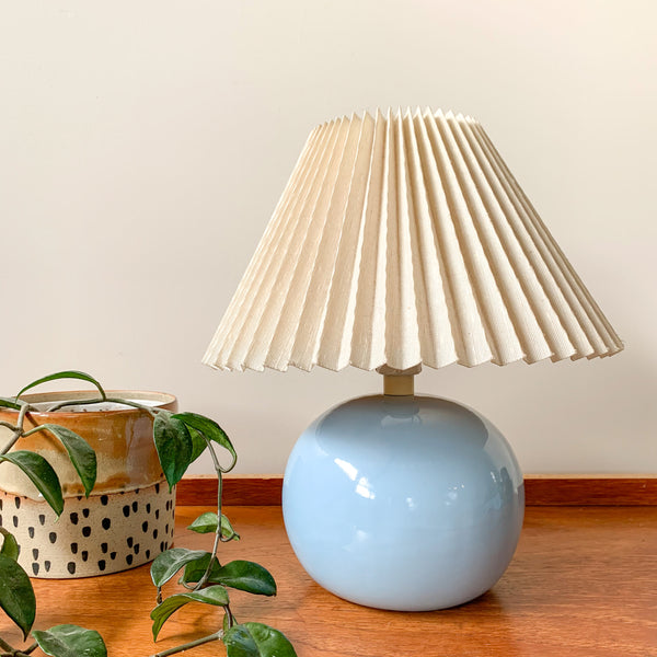 CERAMIC BALL LAMP WITH PLEATED SHADE - HEY JUDE WORKSHOP • Vintage furniture & wares.