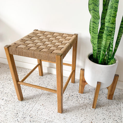 WOVEN TIMBER STOOL - HEY JUDE WORKSHOP • Vintage furniture & wares.
