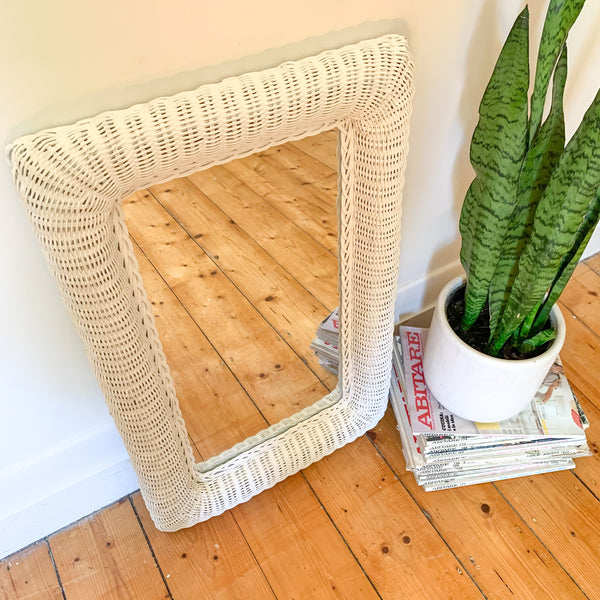WHITE WICKER MIRROR - HEY JUDE WORKSHOP • Vintage furniture & wares.