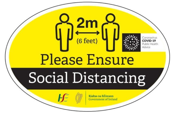 Social Distancing Oval Sticker