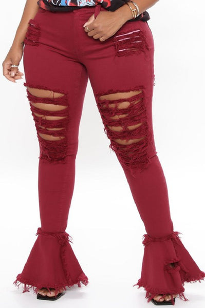 Curvy High Rise Bell Bottom Jeans