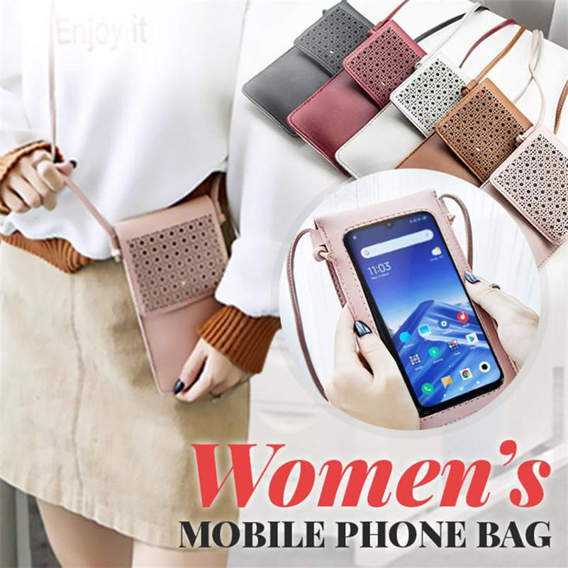 Touch Screen Waterproof Leather Crossbody Phone Bag