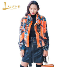 Load image into Gallery viewer, LVCHI Winter 2019 Mandarin Collar Real Mink Fur Coat Women's Button Long Sleeve Print Jacket Coat Short Colorful Loss Mink Coats