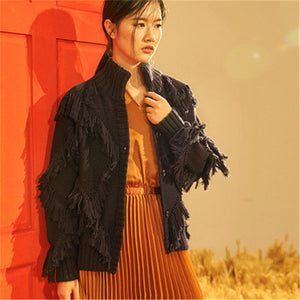 100% hand made pure wool knit women double stand collar solid tassel single breasted H-straight cardigan sweater one&over size