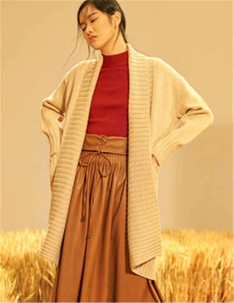 100% hand made pure wool turn-down collar knit women brief solid H-straight long cardigan sweater one&over size
