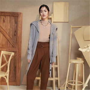 100%hand made pure wool crew neck thick knit women solid single breasted H-straight long cardigan sweater one&over size