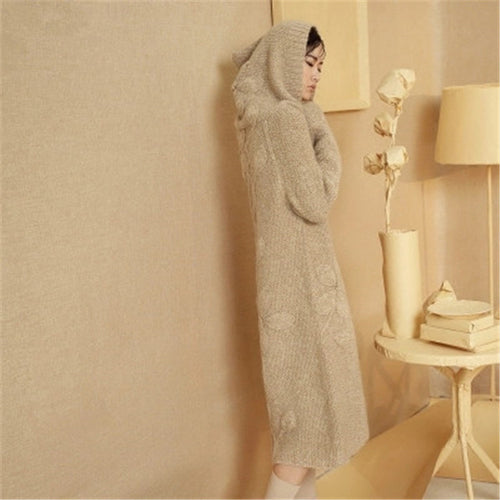 100% hand made wool jacquard knit women fashion hooded long sweater dress white 6color retail wholesale customized