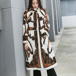 LVCHI Winter 2019 Real Mink Fur Coats Women's Long Sleeve Turn-Down Mandarin Collar Print Colorful Medium X-Long Slim Mink Coats