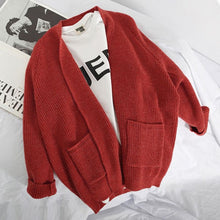 Load image into Gallery viewer, Women Thin Cardigan Coat Autumn Winter Fashion Pockets  Ladies V-neck Long Sleeve Sweater Female Solid Color Knit Cardigan Coat