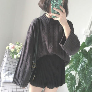 Plus Size Warm Half Turtleneck Sweater Short Women Knitwear Casual Oversized Solid Khaki Knitted Winter Sweater