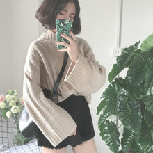 Load image into Gallery viewer, Plus Size Warm Half Turtleneck Sweater Short Women Knitwear Casual Oversized Solid Khaki Knitted Winter Sweater