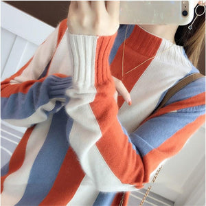 Long Sleeve Striped Sweater Pullovers Winter Turtleneck Knitted Sweaters Women Pullover Basic Loose Casual Knitting Sweater