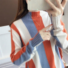 Load image into Gallery viewer, Long Sleeve Striped Sweater Pullovers Winter Turtleneck Knitted Sweaters Women Pullover Basic Loose Casual Knitting Sweater