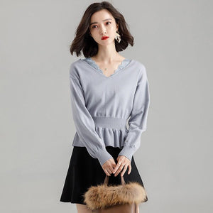 V Neck Solid Knitted Sweater Women Top Autumn Winter Female Loose Lantern Sleeve Pullover Pullovers Ruffled Femme Pull Jumper