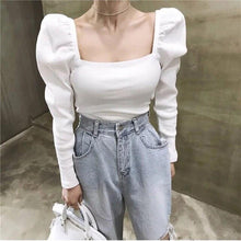 Load image into Gallery viewer, Autumn WoMen Solid Vintage Slim Sweater Long Sleeve Square Collar Knit Sweater Fashion Femme Elegant Sweater