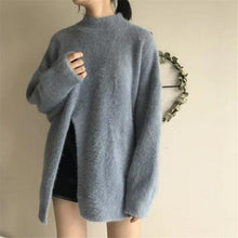 Load image into Gallery viewer, Korean Elegant Mohair Sweater Women Casual Long Jumper Solid Women Fashion Turtleneck Long Sleeve Thick Pullover