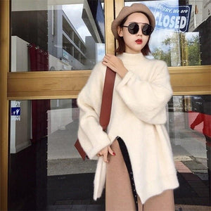Korean Elegant Mohair Sweater Women Casual Long Jumper Solid Women Fashion Turtleneck Long Sleeve Thick Pullover