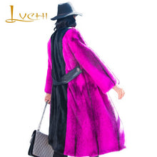Load image into Gallery viewer, LVCHI Winter 2019 Import Swan O-Neck Collar Real Mink Fur Coat Women's Full Quarter Long Purple Contrast Color Thick Mink Coats