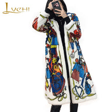 Load image into Gallery viewer, LVCHI Winter 2019 Mink Fur Coats Women's Long Sleeve Coat Long Full Pelt With Fur Hood Beautiful Colorful Print Long Mink Coats
