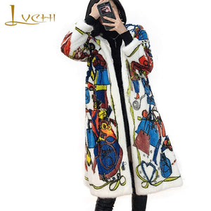 LVCHI Winter 2019 Mink Fur Coats Women's Long Sleeve Coat Long Full Pelt With Fur Hood Beautiful Colorful Print Long Mink Coats