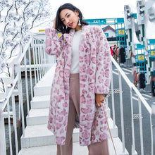 Load image into Gallery viewer, LVCHI Winter 2019 Turn Down Collar Real Mink Fur Coat Women's Long Sleeve Print Leopard Coat Long Colorful Slim Thick Mink Coats