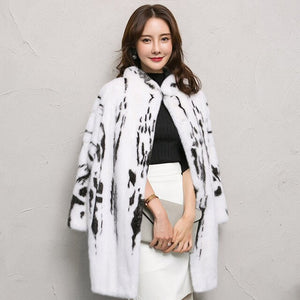 LVCHI Winter 2019 Natural Real Mink Fur Coat Women's Long Sleeve  Mandarin Collar Milk Color Loss Slim Office Lady Mink Coats