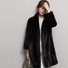 Load image into Gallery viewer, LVCHI Winter 2019 Natural Real Mink Fur Coat Women's Long Sleeve  Mandarin Collar Milk Color Loss Slim Office Lady Mink Coats