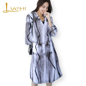 LVCHI Winter 2019 Import Swan Velvet 3 Color Office Lady Real Mink Fur Coat Women's Nine Quarter X-Long Striped Cross Mink Coats