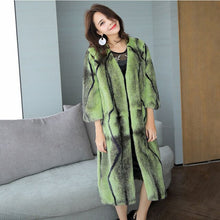 Load image into Gallery viewer, LVCHI Winter 2019 Import Swan Velvet 3 Color Office Lady Real Mink Fur Coat Women's Nine Quarter X-Long Striped Cross Mink Coats