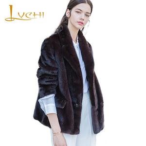 LVCHI Winter 2019 Mink Fur Coats Women's Long Sleeve Coat Pocket Button Real Natural Fur Violet Color Short Causal Mink Coats
