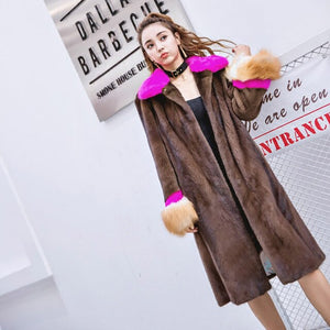 LVCHI Winter 2019 Female Fox Fur Sleeve Colorful Elegant Long Real Mink Fur Coats  Women's Turn-Down Collar Contrast Color Coats