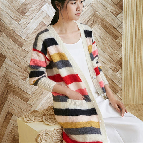 100% hand made wool knit women Vneck striped long cardigan sweater single breasted retail wholesale customized