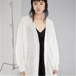 100% hand made pure wool Vneck knit women fashion solid thin long cardigan sweater white 7color customized
