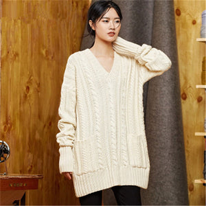 100% hand made pure wool Vneck twisted knit women streetwear loose solid H-straight pullover sweater one&over size