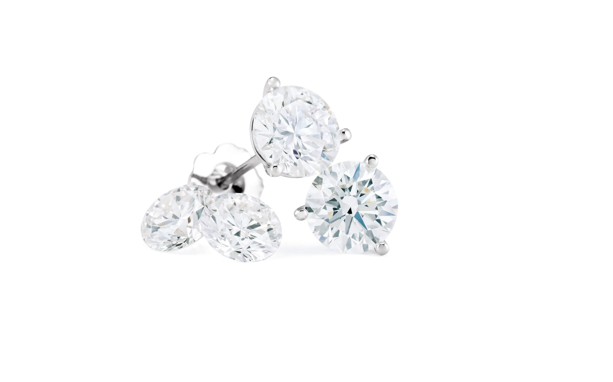 Martini Set Diamond Stud Earrings. G/H Color, I2 in Clarity