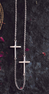5 Station .08 Carat Diamond Cross Station Necklace